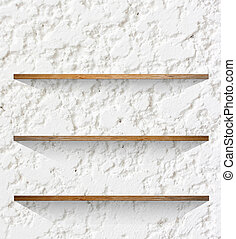 Wooden book Shelf background - Wooden book Shelf on cement...