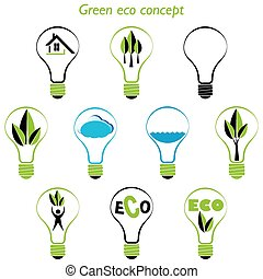 Set of green eco concept, element inside the light bulb