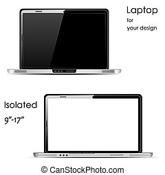 Vector Laptops with blank and black screens, isolated on white