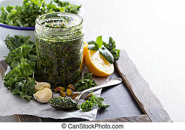 Kale pesto with pistachios, garlic and olive oil - Kale...