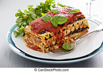 Vegan lasagna with eggplant and tofu - Vegan lasagna with...