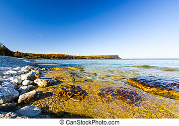 Scenic Rocky Shoreline Along Georgian Bay, Ontario Great...