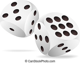 Two white dices in motion