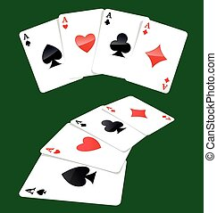 Four aces playing cards, four of a kind, poker winning...