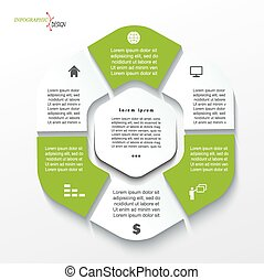 Business concept design with six segments. Infographic template