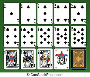 Clubs Suite - Playing cards, club suite, joker and back...