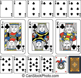 Clubs Suite large figures - Playing cards, clubs suite,...