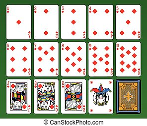 Diamonds Suite - Playing cards, diamonds suite, joker and...