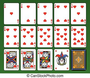 Hearts Suite - Playing cards, hearts suite, joker and back...