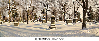 Forest Lawn Cemetery - Gravestones shrouded in snow in...