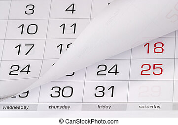 Calendar fragment perspective shot with partial blurred...