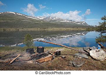 Camp near the lake - Camp near the high-mountain lake...