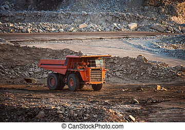 coal-preparation plant Big mining truck at work site coal...
