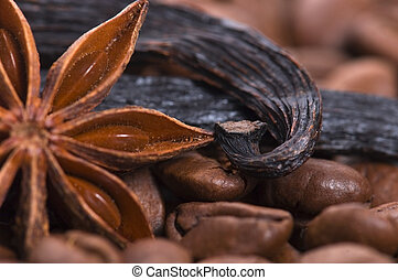 aroma coffe. ingredients. coffe beens, anise, vanilla