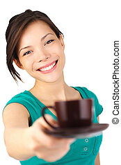Woman serving coffee - Coffee Beautiful young woman with big...