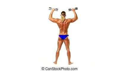 Man makes exercises dumbbells Sport, power, dumbbells,...