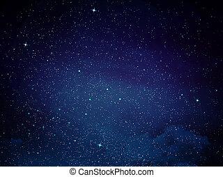vista, de, espaço, com, cacho, de, estrelas,