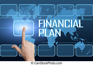 Financial Plan concept with interface and world map on blue...