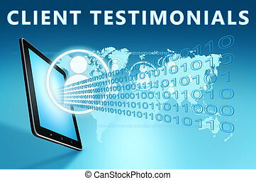 Client Testimonials illustration with tablet computer on...