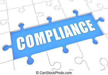 Compliance - puzzle 3d render illustration with word on blue...