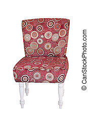 red vintage fabric chair isolated on white.