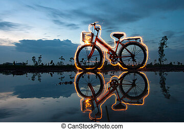 bicycle light painting reflection