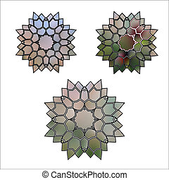 set Abstract illustration of flower crystal