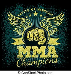 MMA labels on grunge background. Vector illustration.