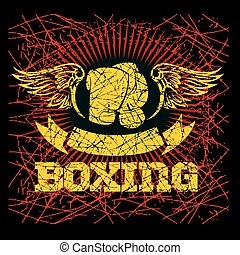 Boxing labels on grunge background Vector illustration