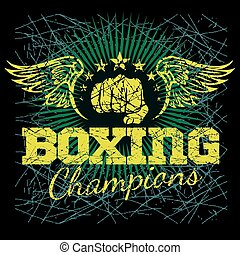Boxing labels on grunge background. Vector illustration.