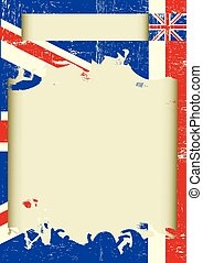 UK scratched poster - A background with the Union Jack flag...