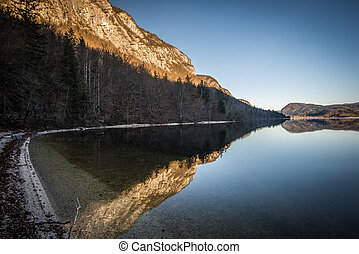 Bohinj Lake at sunset ,Triglav National Park,Slovenia