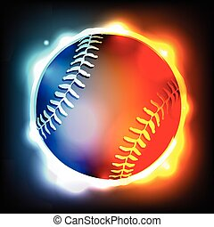 Glowing Baseball Illustration - A flying glowing baseball...