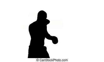 one caucasian man exercising boxing boxer workout fitness in...