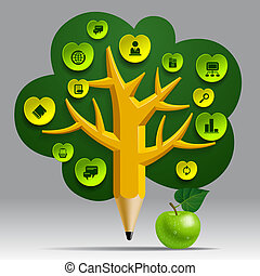 Education Template with pencil tree and green apple, web...
