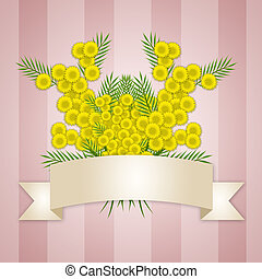 Womens Day background with mimosa flowers - illustration of...