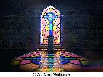 manchado, vidro, Janela, igreja,