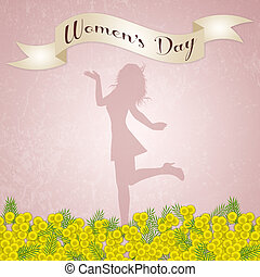 Womens Day background with mimosa flowers