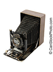 Retro camera medium format, isolated on white background