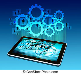 tablet  technology business concept