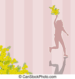 Woman with mimosa flower - illustration of Woman with mimosa...