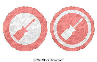 two icons with texture crumpled paper and screwdriver