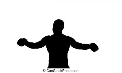 Boxer winner silhouette on white background.