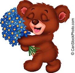 Cute little bear cartoon holding a