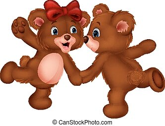 Cute bear couple cartoon dancing - Vector illustration of...