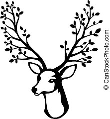 Deer head cartoon with tree branch - Vector illustration of...