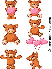 Cartoon bear with pink heart collec - Vector illustration of...