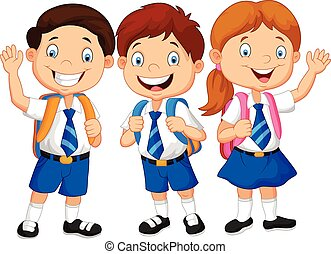Cartoon happy school children - Vector illustration of...