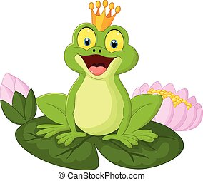 Cartoon king frog - Vector illustration of Cartoon king frog...