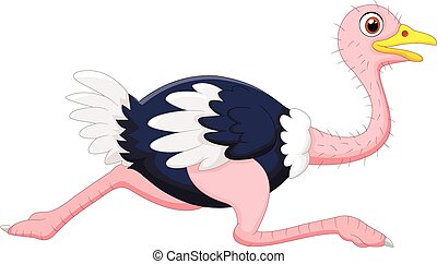 Cartoon ostrich running - Vector illustration of Cartoon...